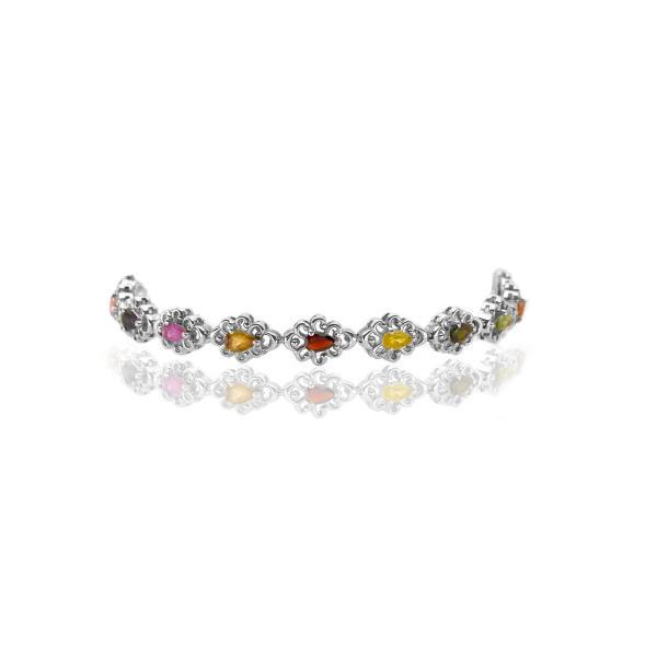 Bracelet tourmaline multi couleurs argent Stellia