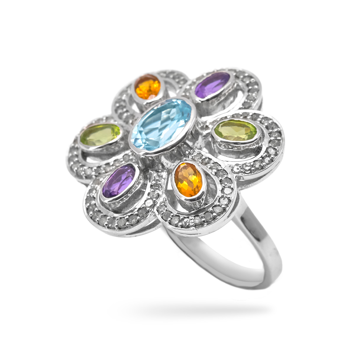 Bague argent univers, topaze, peridot, citrine Sunflower